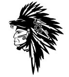 Tribe chief warrior black and white vector. Tribe chief warrior wearing feather headdress with wolf head - black and white vector design Royalty Free Stock Photo