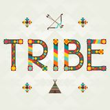 Tribe design word with ornament.  Royalty Free Stock Photo