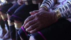 Tribe Kayan Lahwi. Padaung women. Women with rings on his hands and feet. Tribe Kayan Lahwi stock video