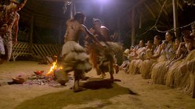 Tribe People Dancing. Aboriginal Culture And Art Show Indigenous Performing Dance And Playing Musical Instrument Traditional Event In Amazonian Jungle By Night stock video footage