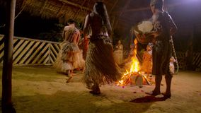 Tribe People Dancing. Indigenous Playing Musical Instrument And Dancing Around The Fire During Traditional Event In Amazonian Jungle At Night In Ecuador stock video footage