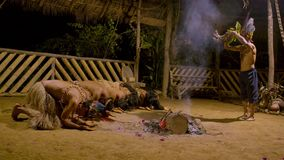 Tribe people praying. Aboriginal culture indigenous performing puja of fire traditional event in amazonian jungle by night in Ecuador stock footage