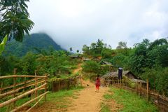 Tribe village in the mountains with a local girl wearing traditional clothers in Muong Hoa Valley, Sappa, Bat Xat, Lao Cai, Northe stock photography