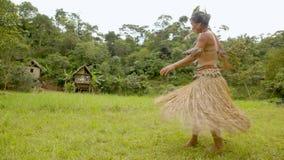 Tribe Woman Dancing In Farm. Indigenous Tribe Woman Dancing In Amazonian Village In Ecuador stock video footage