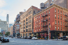 Tribeca district empty streets in a sunny day in New York. NEW YORK - September 8: Tribeca district empty streets in a sunny summer day on September 8, 2016 in royalty free stock photography