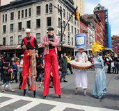 Tribeca Family Festival. Entertainers in costumes walk on stilts through Greenwich Street during Tribeca family festival and street fair in ny stock photos