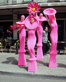 Tribeca Family Festival. Women dressed as flowers in pink costume , entertaining the kids during the Tribeca Family Festival in Greenwich Street,NY stock photography