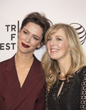 2015 Tribeca Film Festival. Actress Rebecca Hall (L), wearing Prada,  arrives on the red carpet at the 14th Annual Tribeca Film Festival in New York City on Royalty Free Stock Photography