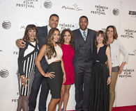 2015 Tribeca Film Festival. Future NFL Hall of Famer Tony Gonzalez is flanked by mother Judy Gonzalez and wife Tobie Gonzalez, a fitness maven.  Also pictured Royalty Free Stock Image