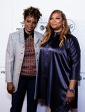 Tribeca Film Festival - Red Carpet before premiere of the Queen Collective. Tribeca Talks - Queen Latifah with Dee Rees - with the premiere of the Queen royalty free stock photos