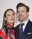 2015 Tribeca Film Festival. Stunning actress Olivia Wilde arrives with husband, comedic actor and former SNL cast-member, Jason Sudeikis, on the red carpet at Royalty Free Stock Photography