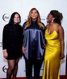 Tribeca Film Festival - Red Carpet before premiere of the Queen Collective. Tribeca Talks - Queen Latifah, Haley Anderson and Brittany Fennell at  the  premiere stock photo