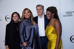 Tribeca Film Festival - Red Carpet before premiere of the Queen Collective. Tribeca Talks - Queen Latifah, Haley Anderson, Marc Pritchard and Brittany Fellon at royalty free stock image
