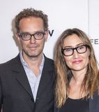 Tribeca TV: Indie Pilots. New York, NY, USA - April 23, 2018: Sam Bisbee and Theodora Dunlap attends the screeing of `Oversharing` at Tribeca TV: Indie Pilots royalty free stock image