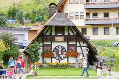 TRIBERG, GERMANY - AUGUST 21 2017: Biggest Cuckoo Clock in the W Stock Images