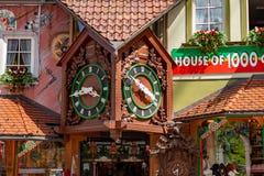 TRIBERG, GERMANY - JULY 18 2018: Souvenir Shop House of 1000 Clocks in Triberg Shopping Street stock photography