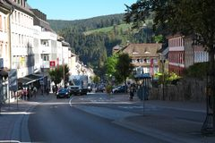 Triberg town along Bundesstrasse or Federal highway 500. Tribergt is famous for the tallest waterfall in Germany. royalty free stock images