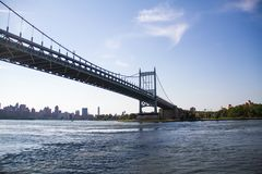 Triborough bridge over the river with blue sky. New York Stock Image