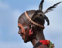 Tribu de Hamar dans la vallée d'Omo de l'Ethiopie Image libre de droits