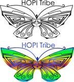 Tribu minimalista del Hopi del logotipo de la mariposa, logotipo de la danza ilustración del vector