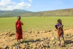 Tribu Tanzania del Masai Fotografía de archivo libre de regalías