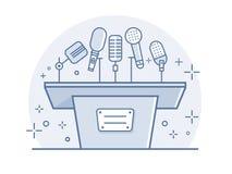 Tribuna con i microfoni Fotografia Stock