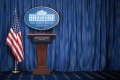 Tribuna dell'altoparlante del podio con le bandiere di U.S.A. ed il segno dei wi della Casa Bianca illustrazione vettoriale