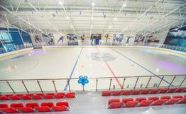 Tribuna espectadora en el palacio del hielo en Bulgaria, Kranevo Foto de archivo