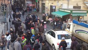 Tribunali Street, Naples - Italy. NAPLES, ITALY- DECEMBER 30: hawkers and people walking in Tribunali Street, in old town on December 30, 2014 in Naples- Italy stock footage