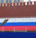 Tribune de vacances sur la place rouge à Moscou Image stock