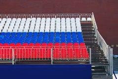 Tribune de vacances sur la place rouge à Moscou Photos stock
