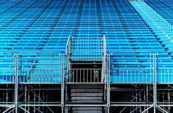 Tribune. Empty blue seats on a tribune Stock Photos