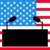 Tribune for an interview, the speaker of a press conference. The microphone against the background the American flag. Vector ill Stock Photos