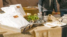 Tribune met Noors geroepen brood flatbrod Royalty-vrije Stock Afbeelding