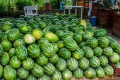 Tribune met watermeloenen Royalty-vrije Stock Foto's