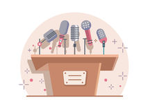 Tribune with microphones Royalty Free Stock Photos