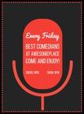Tribune op de affiche van de komediegebeurtenis Vectorillustratie van het silhouet van de rode microfoon met tekst Royalty-vrije Stock Afbeeldingen