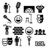 Tribune op komedie, vermaak, mensen het lachen geplaatste pictogrammen Stock Afbeelding