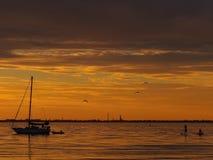 Tribune op peddelpensionair, boot en vogels bij zonsondergang Stock Foto