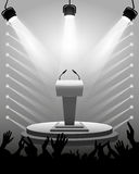 Tribune for performances speaker with microphones on stage, spotlights, cheering fans, vector illustration. Royalty Free Stock Image