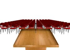 Tribune or Podium for sermons on white background with red chairs Stock Photos