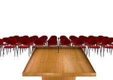 Tribune of Podium voor preken op witte achtergrond met rode stoelen Stock Afbeeldingen