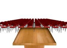 Tribune of Podium voor preken op witte achtergrond met rode stoelen Stock Foto's