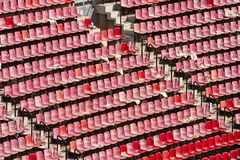 Tribune seats. Seats in Camp Nou, soccer stadium of Barcelona, Spain royalty free stock photo