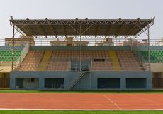 A tribune section in urban stadium. An image of empty middle tribune section with roof in public open stadium in Antalya city Stock Photography