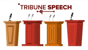 Tribune Set Vector. Podium Rostrum Stand With Microphones. Business Presentation Or Conference, Debate Speech. Flat. Tribune Set Vector. Podium Rostrum Stand stock illustration