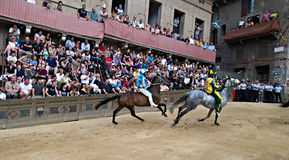 Tribune of the spectators in Palio of Siena Stock Image