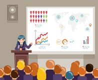 Tribune speech speaking large audiences global issues climate change crowd female character world campaigning human. Rights design flat vector illustration stock illustration