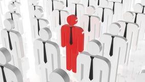 Tribune uit van menigteconcept Rood mensenpictogram in midden van witte mensenpictogrammen Verschillend ben zoekend baan Stock Afbeelding