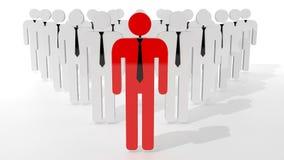 Tribune uit van menigteconcept Rood mensenpictogram in midden van witte mensenpictogrammen Verschillend ben zoekend baan Stock Foto's